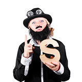 Woman With False Beard And Mustache Holding Alphabet S