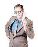 Confident Businessman Holding Paper Airplane