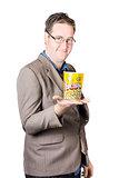 Businessman Holding Popcorn Bucket