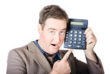 Businessman Pointing At Calculator