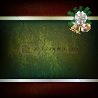 Christmas bells and white ribbon