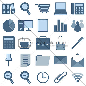 Blue office icons on white background