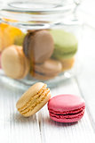 colofrul macaroons on kitchen table