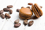 cocoa macaroons with cocoa beans