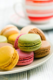 various type of macaroons on plate