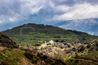 Mountains on Crete with white church
