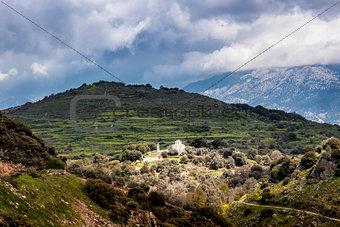 Mountains on Crete with white church