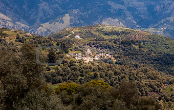 Mountains on Crete with church
