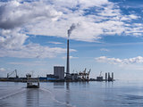 Esbjerg power plant and wind turbine harbor. Denmark.