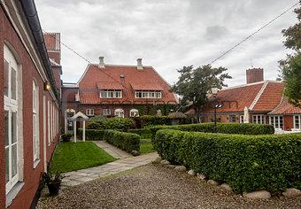 Public garden of Brondums hotel in Skagen