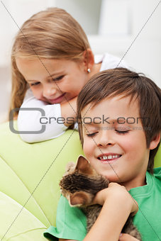 Kids with their new pet