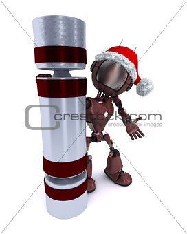 Android with a christmas cracker