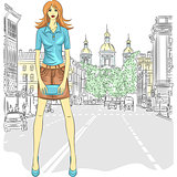 Vector beautiful fashion girl top model on the street in St. Pet