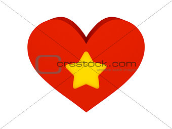 Big red heart with star symbol.