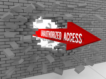 Arrow with words Unauthorized Access breaking brick wall.