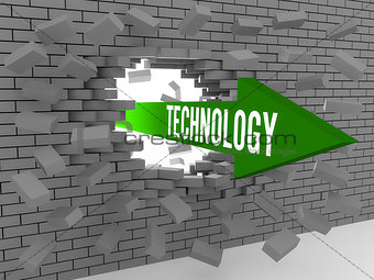 Arrow with word Technology breaking brick wall.