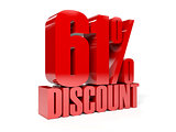 61 percent discount. Red shiny text.