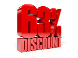 63 percent discount. Red shiny text.