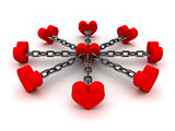 Eight hearts linked by black chain to one heart in center.