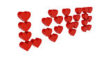Red hearts set in word LOVE.