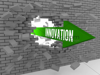 Arrow with word Innovation breaking brick wall.