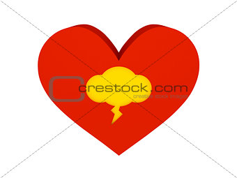 Big red heart with thunder cloud symbol.