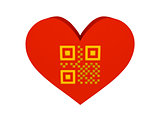 Big red heart with QR code symbol.