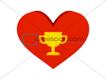 Big red heart with trophy symbol.