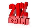 21 percent discount. Red shiny text.