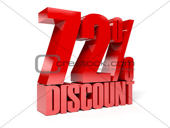 72 percent discount. Red shiny text.