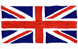 Union Jack flag drawn on white paper.