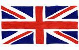 Union Jack flag drawn on white paper.