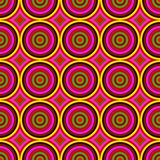 Vibrant warm color circles seamless abstract pattern.