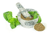 mortar with powdered basil herb