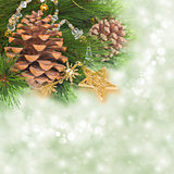 chrismas tree and pine cones