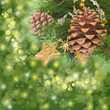 chrismas decorations and pine cones