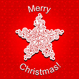 Abstract Red Christmas Star Snowflake