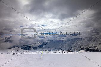 Ski slope in bad weather