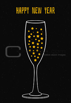 Glass of champagne with the stars
