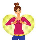 Cute girl and heart symbol