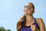 Sports running woman training outdoors for marathon run