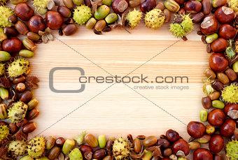 Autumn detritus border of beechnuts, conkers and acorns on wood