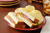 Roase beef and cheese sandwich