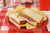 Roast beef sandwich on a picnic table