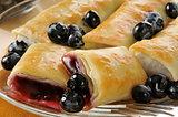 Blueberry blintzes closeup