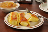 Potato blintzes and applesauce
