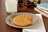 Peanut butter cookies and milk after school