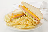 Bologna and cheese sandwich