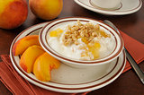 Greek yogurt with peaches and granola