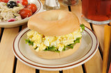 Egg salad sandwich on a bagel